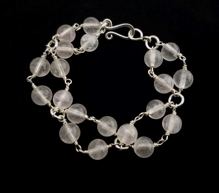Sterling Silver and Crystal Bead Bracelets